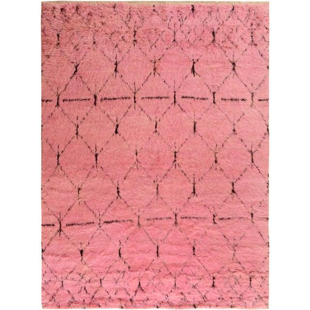 Moroccan Arya Doyle Pink/Black Wool Rug -7'9 X 10'4 - Image 8 of 8