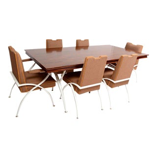 Mexican Modernist Mid-Century Modern Dining Rosewood Table with Chairs For Sale