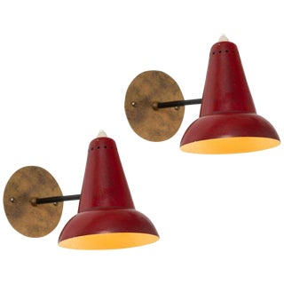 1950s Italian Red Articulating Sconces - a Pair For Sale