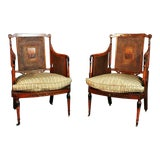 Image of Pair of English Adams Style Cane Back Paint Decorated Club Chairs For Sale