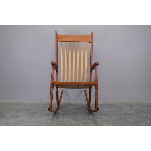 Sam Maloof Extraordinary Bench-Made Cherry Rocking Chair, Sam Maloof Style For Sale - Image 4 of 10