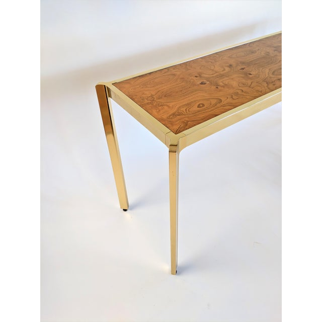 Brown Brass & Burlwood Console Table For Sale - Image 8 of 13