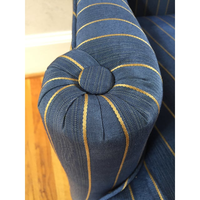 Queen Anne 20th Century Queen Anne Blue With Gold Pin Stripe Damask Wingback Chair For Sale - Image 3 of 8
