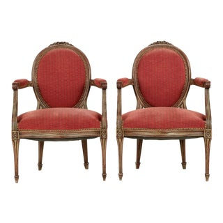 Vintage French Louis XVI Style Gray Painted Fauteuil Arm Chairs - a Pair For Sale