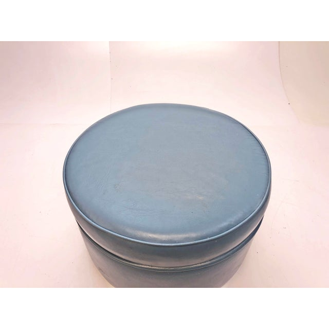 Contemporary Vintage Mid Century Blue Vinyl Round Foot Stool Ottoman For Sale - Image 3 of 12