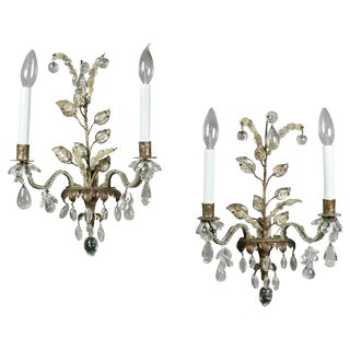 Pair of Gilt Metal and Crystal Sconces by Bagues For Sale