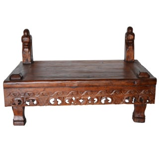 Vintage Indonesian Carved Teak Coffee Table For Sale