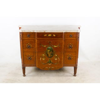 19th C. French Louis XVI Hand Painted Marble Top Chest of Drawers Preview