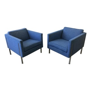 1970s Modern Harvey Probber Style. Blue Upholstered Cubic Chairs - a Pair
