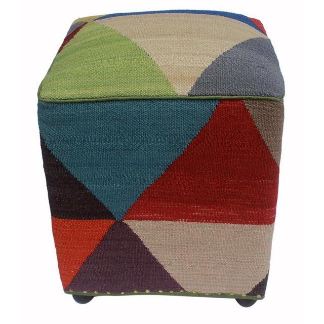 Arshs Deanne Ivory/Red Kilim Upholstered Handmade Ottoman For Sale - Image 4 of 8