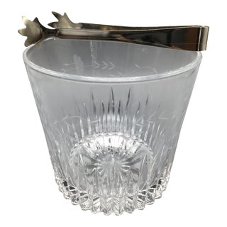 Floral Etched Crystal Ice Bucket With Stainless Steel Ice Tongs For Sale