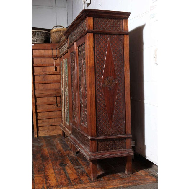 Antique Javanese Teakwood Cabinet with Detailed Carvings, Early 20th Century For Sale In New York - Image 6 of 11