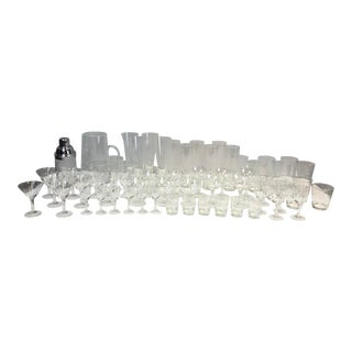 Sasaki Wheat Etched Glass Drink Service - 59 Piece Set For Sale