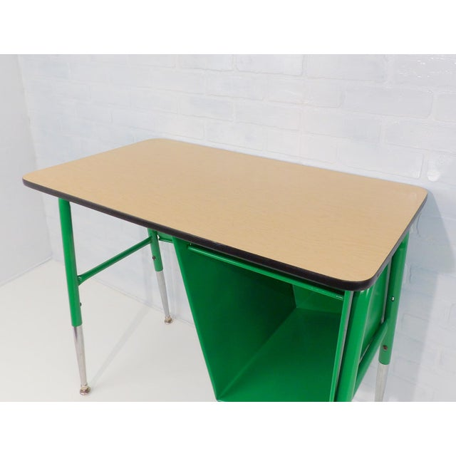 Industrial Mid-Century Kelly Green Petite Tanker Office Desk For Sale - Image 3 of 9