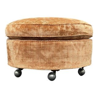 Mid Century Round Ottoman on Casters For Sale