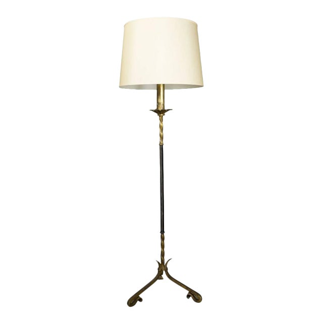 Distinguished spanish gilt wrought iron floor lamp with leather stem spanish gilt wrought iron floor lamp with leather stem image 2 of 10 aloadofball Image collections