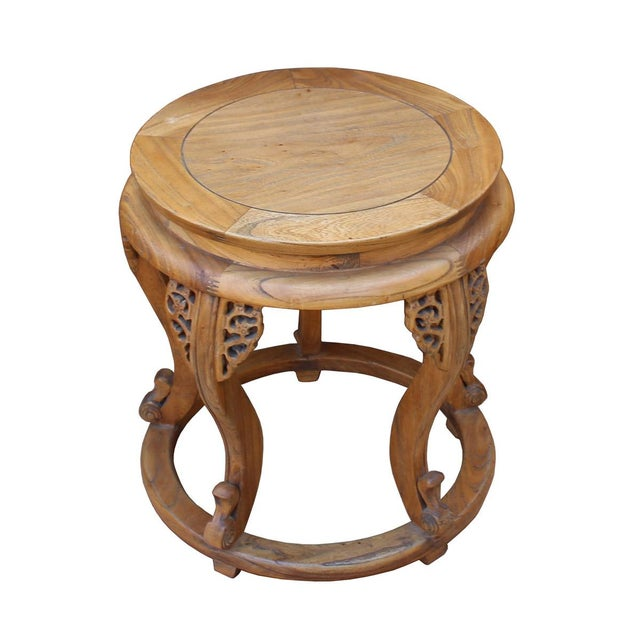 """This is a handmade oriental 5 curved legs round wood stool with light brown color stain. Dimensions: Dia top 15.5"""" body..."""