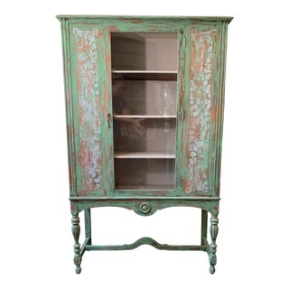 Vintage Jacobean Distressed Green Display Cabinet For Sale