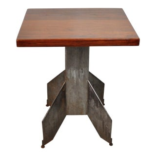 Small Handmade Table With Cast Iron Torpedo Base For Sale