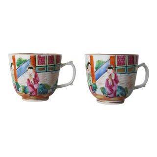 19th Century Chinese Export Famille Rose Mandarin Porcelain Cups - a Pair For Sale