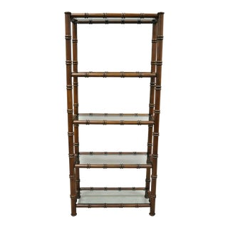 Vintage Chippendale Hollywood Regency Faux Bamboo Wood Glass Etagere Stand For Sale
