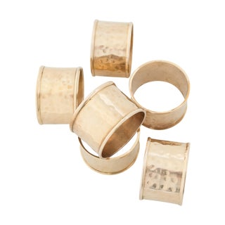 Vintage Hammered Brass Napkin Rings - Set/6