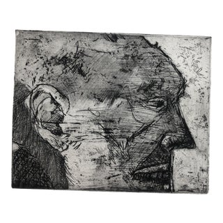 Modern Profile Portrait of a Man by Jon Fasenelli-Cawelti, 1984 For Sale