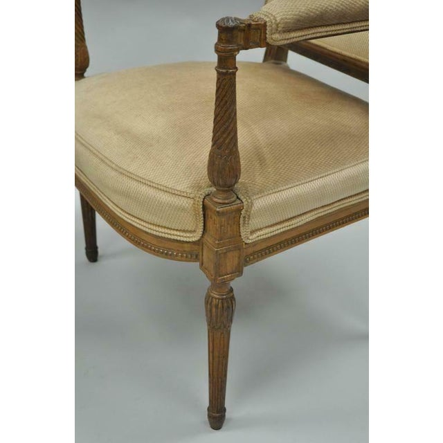 French Vintage Carved Walnut French Louis XVI Directoire Square Back Fireside Arm Chairs- a Pair For Sale - Image 3 of 10