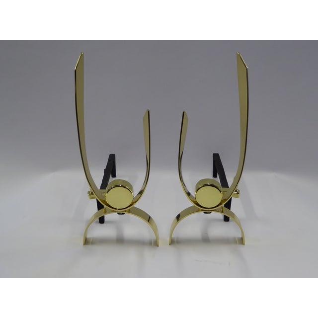 Donald Deskey Modernist Brass Andirons - Image 2 of 11