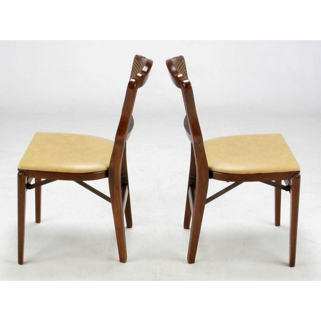 Set of Four Mahogany, Cane & Leather Regency Folding Chairs For Sale In Chicago - Image 6 of 11