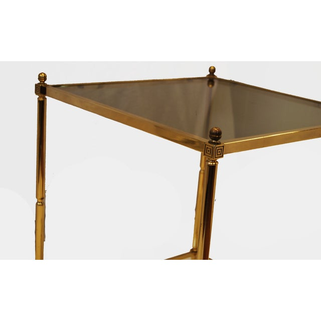 Hollywood Regency Brass Glass Top End Side Table - Image 6 of 6