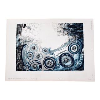 Mid Century Modern Blue State Unframed Serigraph Print by Roland Poska Signed Abstract For Sale