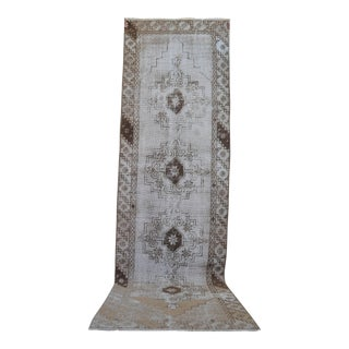Distressed Oushak Rug Runner - 3' x 10'