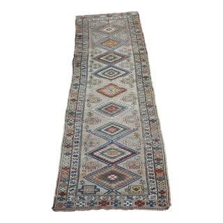 Vintage Jewel Tones Shirvan Wool Hand Knotted Runner Rug - 3′2″ × 11′6″