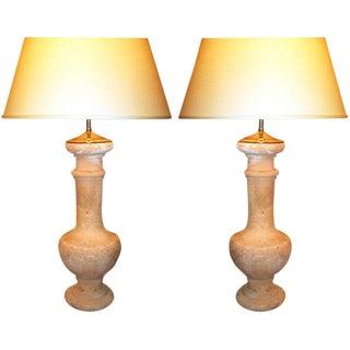 Pair of Terra Cotta Balluster Lamps For Sale