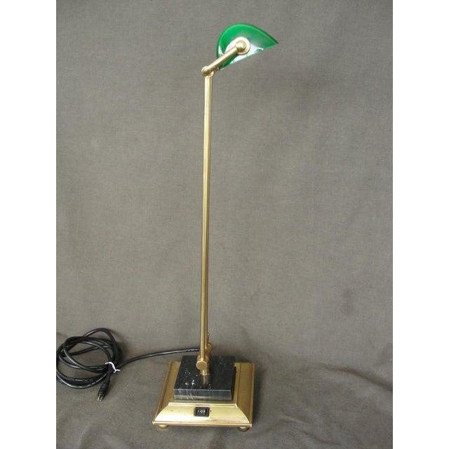 Tall Brass & Green Banker's Desk Lamp - Image 5 of 7