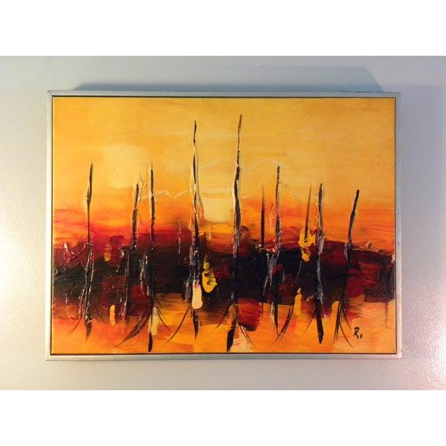 Mid-Century Modern Orange Abstract Painting - Image 2 of 7