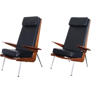 Mid Century Modern Walnut High Back Chairs For Sale