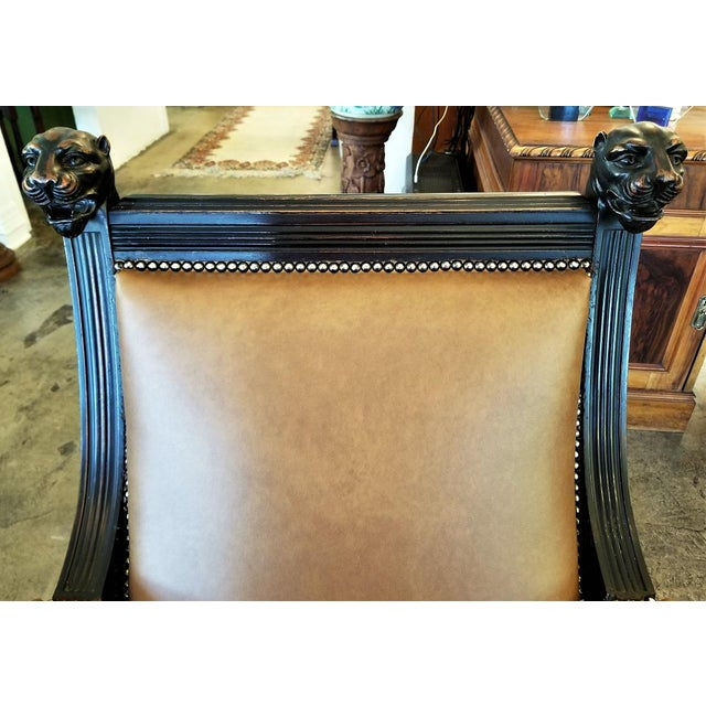 Animal Skin British Dark Walnut Library Chairs With Lions Heads - a Pair For Sale - Image 7 of 11