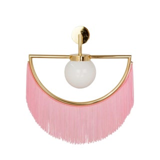 Wink Gold-Plated Wall Lamp With Pink Fringes For Sale