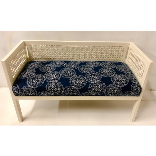 1970s Caned Bench in Linen For Sale - Image 4 of 8