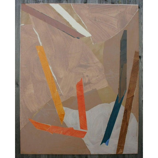 Large painted, cut and torn paper collage mounted on board. Framed in Lucite, by Trevor Jones UK.