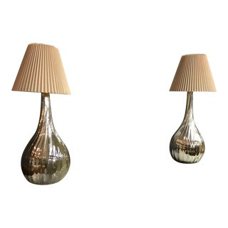 Mexico Mid Century Teardrop Twisted Mercury Table Lamps - a Pair For Sale