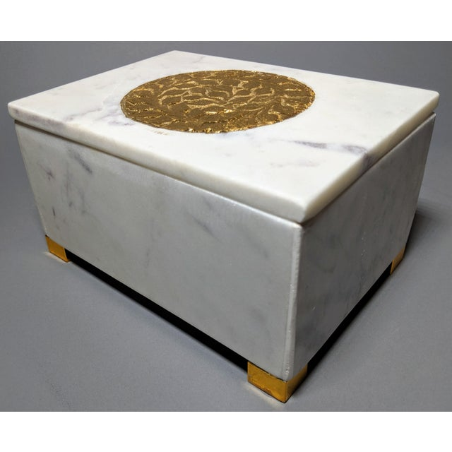 Gold and White Decorative Box For Sale - Image 9 of 13
