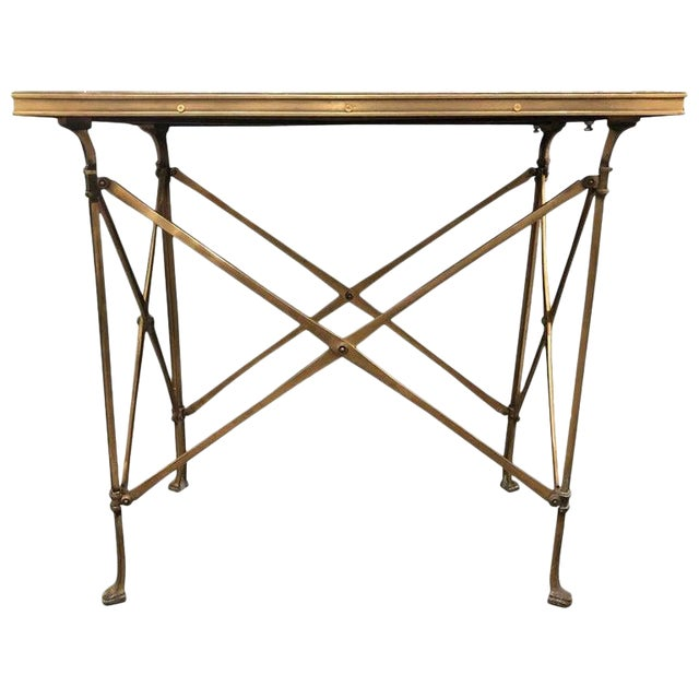20th Century Campaign Style Side Table With Mirrored Top For Sale