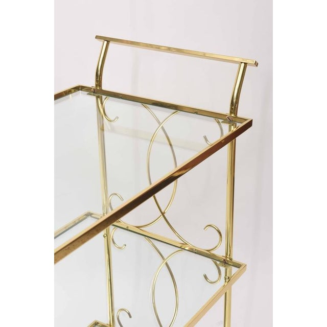 1950s Mid-Century Italian Brass Bar Cart For Sale - Image 5 of 10