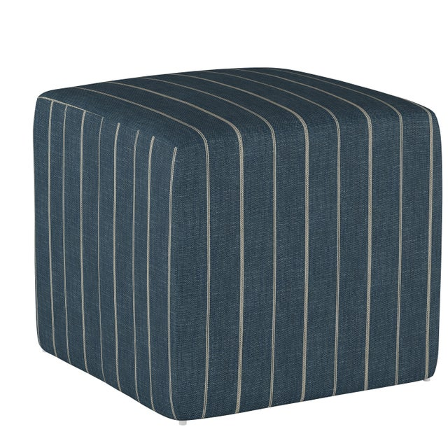 Not Yet Made - Made To Order Fritz Indigo Cube Ottoman For Sale - Image 5 of 7