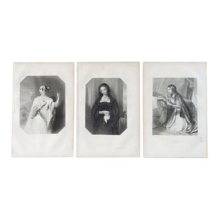1873 Portraits of Women in Shakespeare Lithographs - Set of 3 For Sale