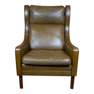 Vintage Mid Century Danish Leather Wingback Chair by Børge Mogensen For Sale