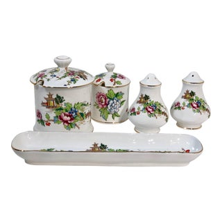 Staffordshire Pagoda Gold Trim England Traditional Serving Dishes - Set of 7 For Sale